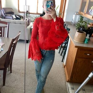 STUNNING red Free People blouse